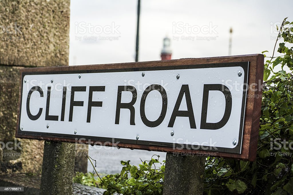 Cliff Road sign on Plymouth Hoe royalty-free stock photo