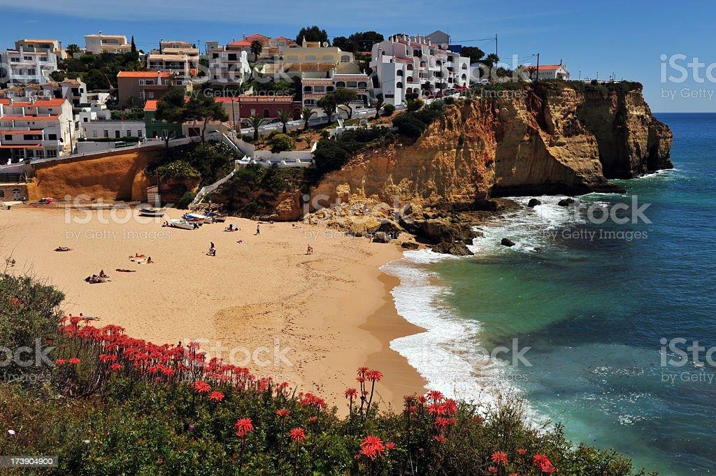 A cliff side view of Carvoeiro beach, Algarve, Portugal stock photo