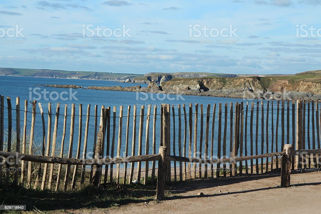 Cliff top fence stock photo