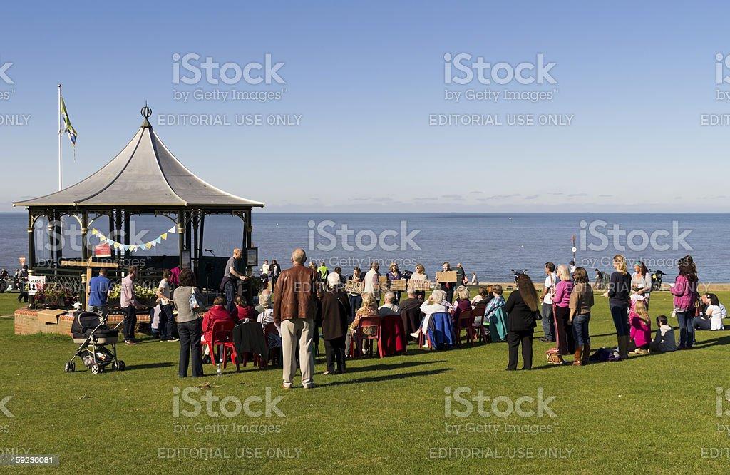 Cliff top prayer meeting royalty-free stock photo