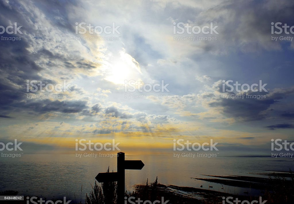 Cliff Top Sign above the Bay stock photo