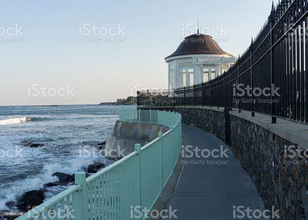 Cliff Walk in Newport stock photo