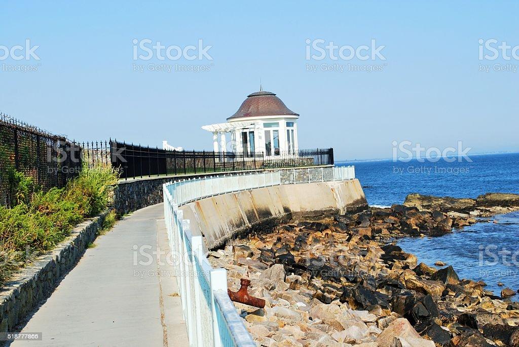 Cliff Walk in Newport Rhode Island stock photo