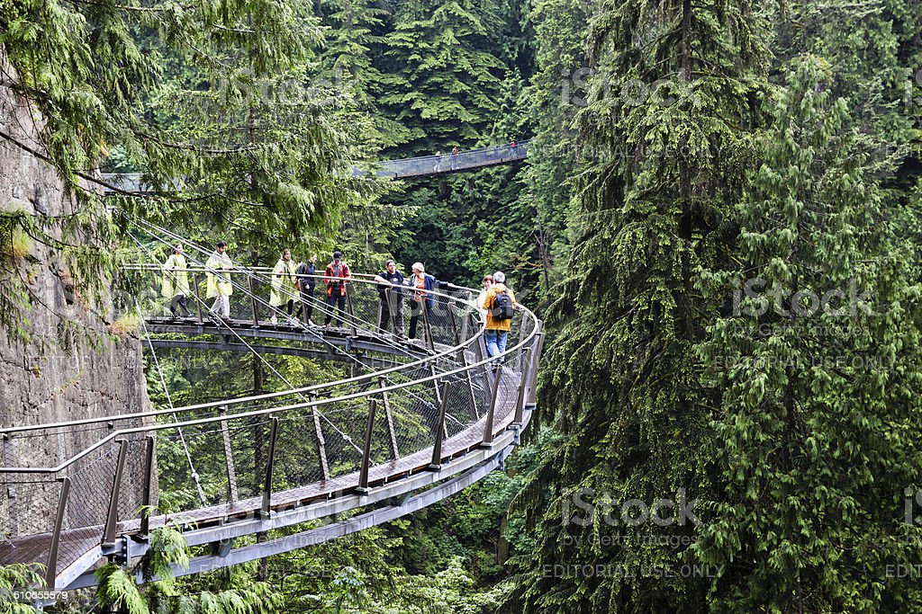Cliff Walk Over Capilano River in Vancouver stock photo