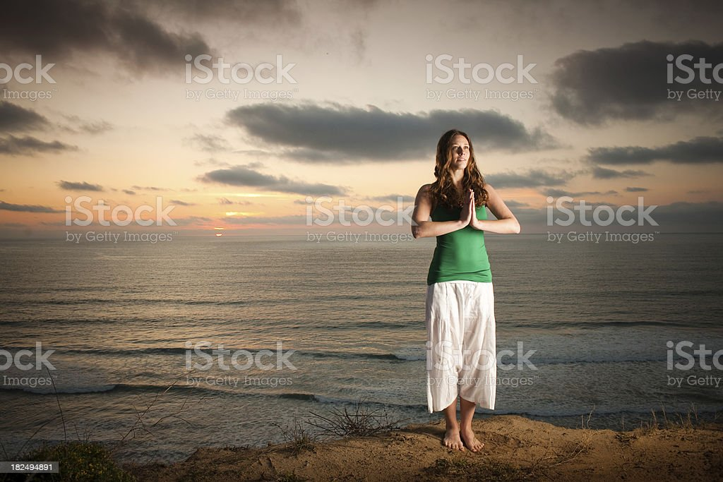 Cliff Yoga royalty-free stock photo