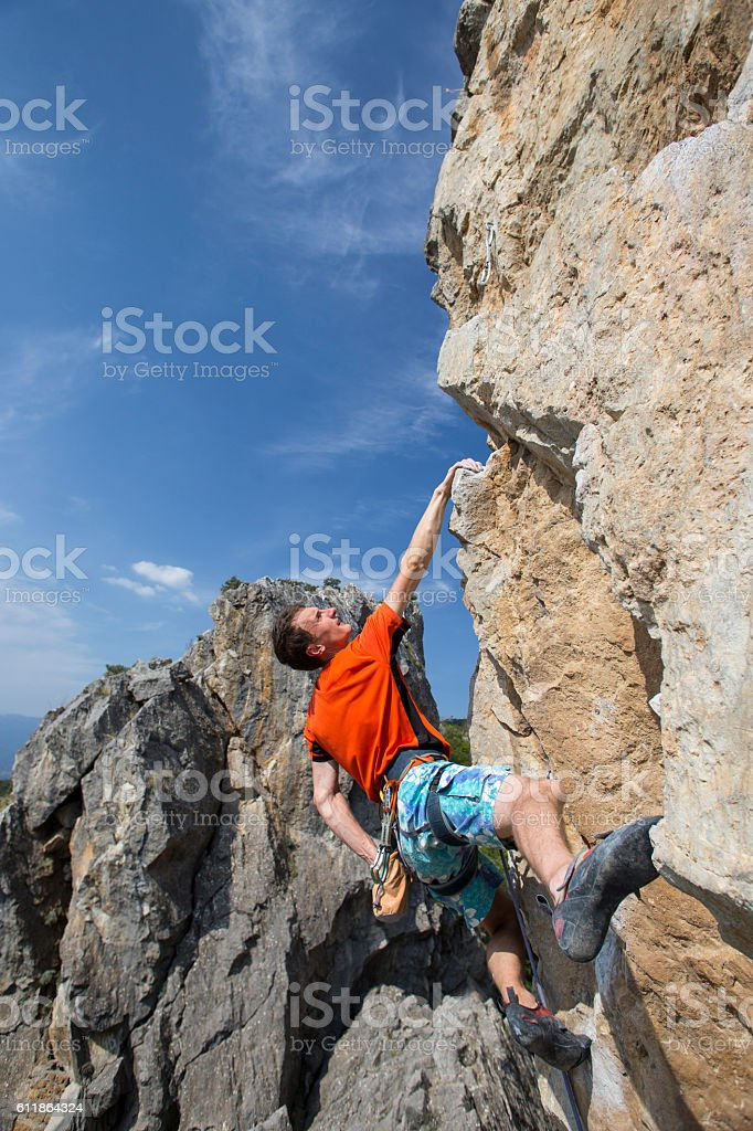 Cliffhanger. stock photo
