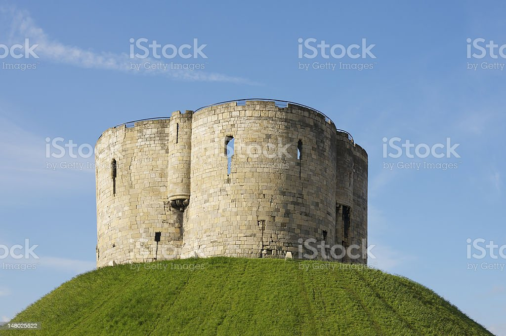 Clifford's Tower at York Castle in England in spring stock photo