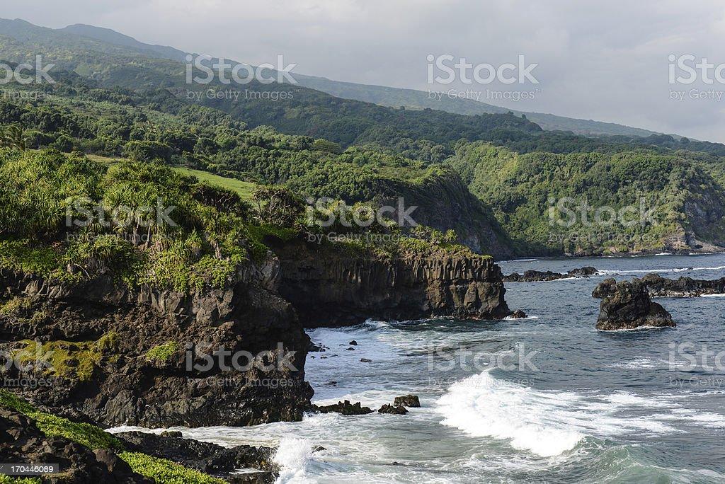 Cliffs Along the Road to Hana in Hawaii royalty-free stock photo