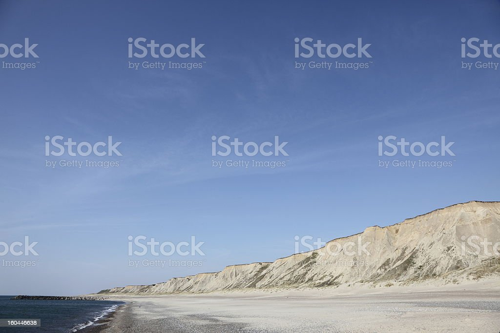 Cliffs and beach by the North Sea stock photo