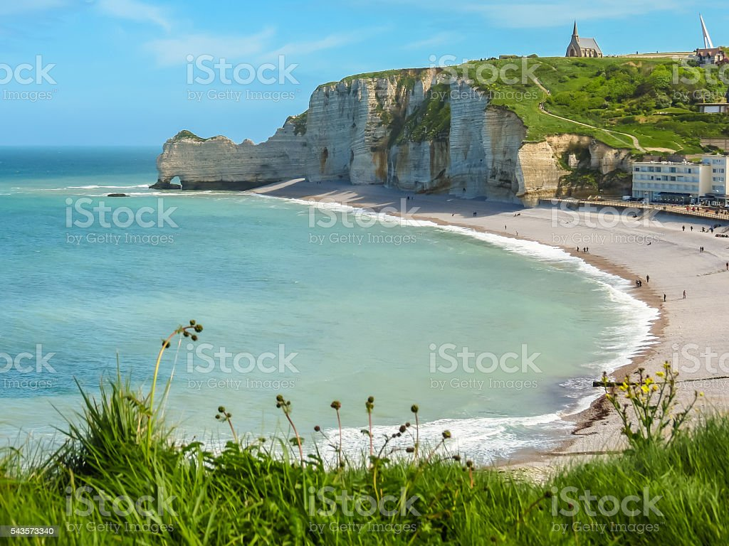 Cliffs and beach of Etretat, Normandy, France stock photo