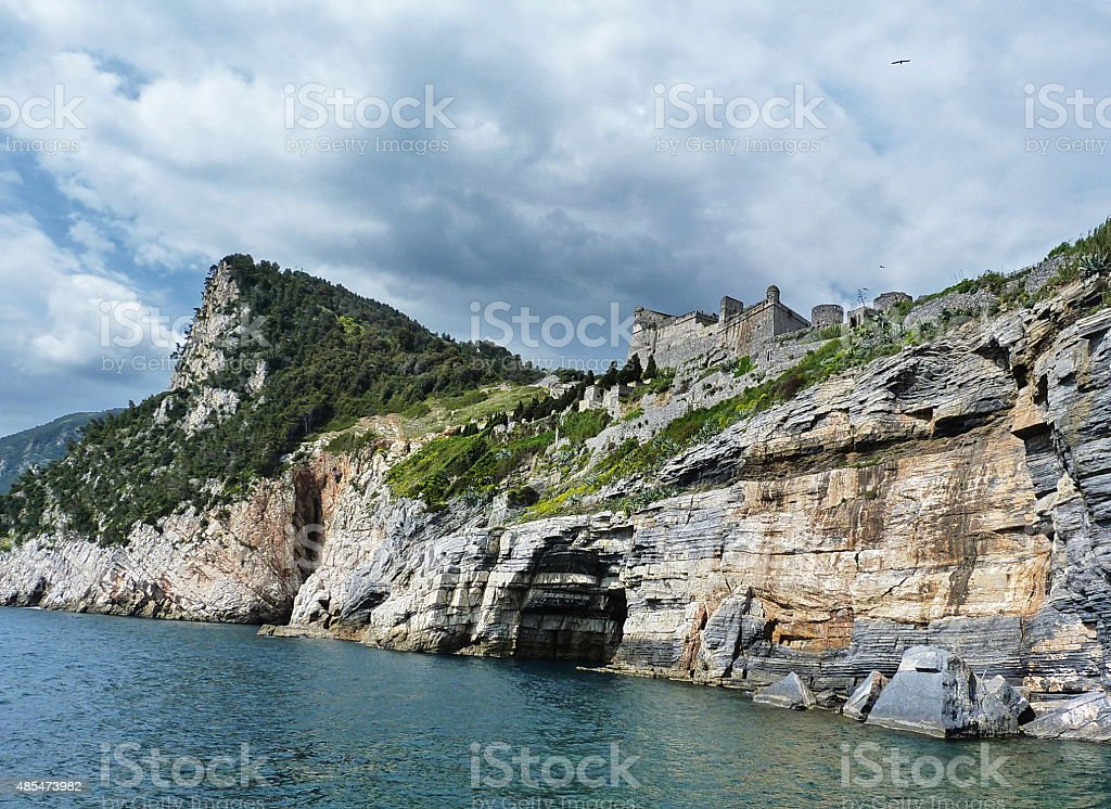 Cliffs and fortress of Portovenere, Liguria, Italy stock photo