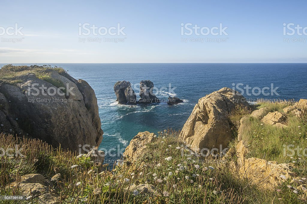 Cliffs and islet stock photo