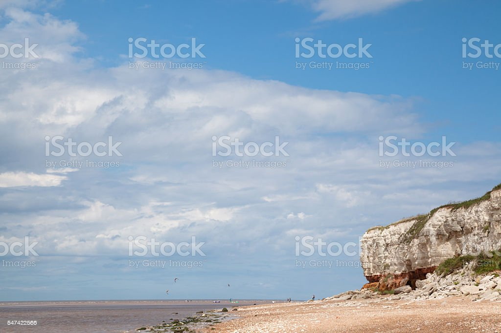 cliffs and kite surfers  at  Hunstanton Eastern England in summer stock photo