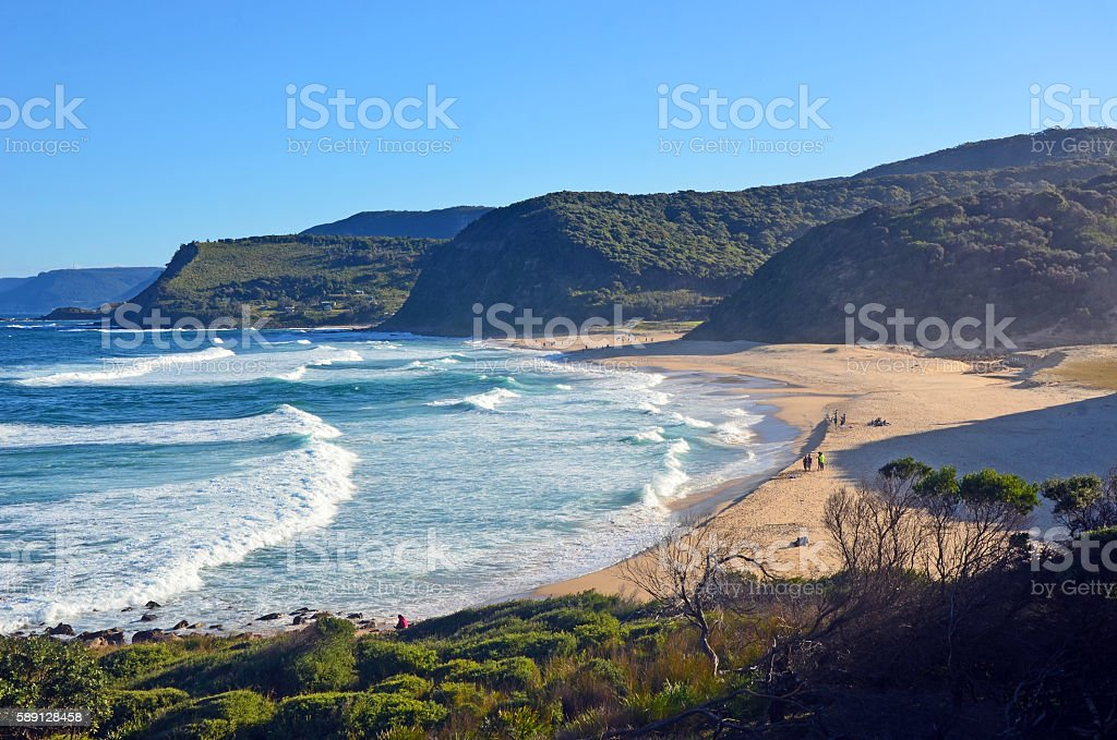 Cliffs and vegetation surrounding Garie beach stock photo