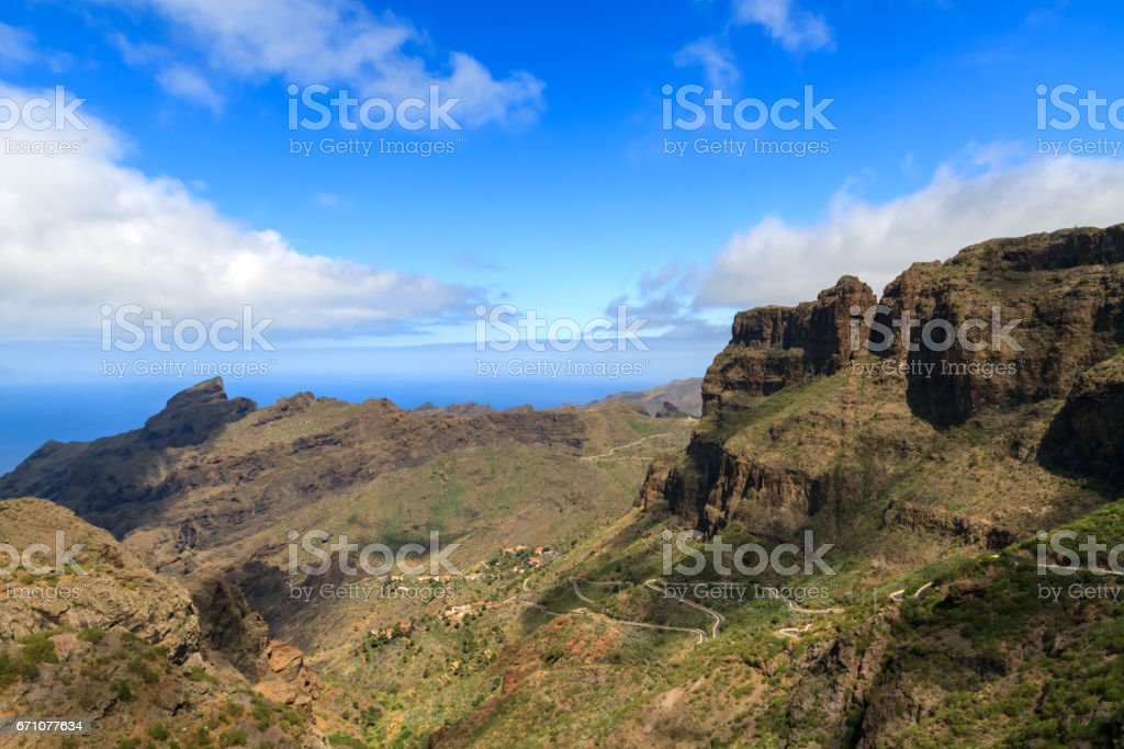 Cliffs and Winding Road To Masca, Tenerife stock photo