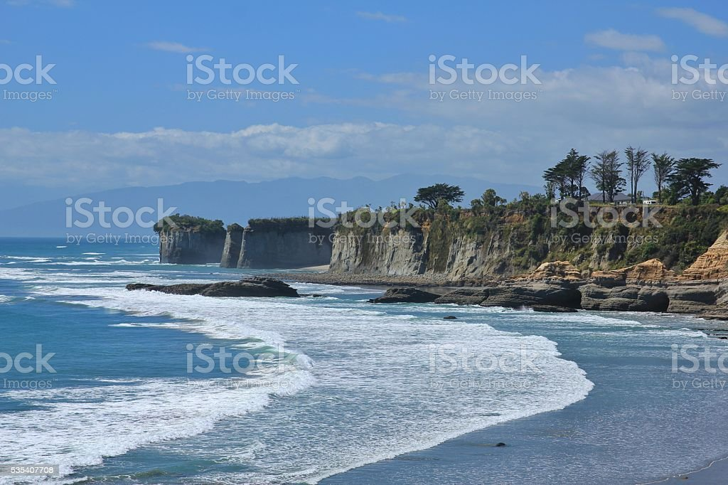 Cliffs at Cape Foulwind, New Zealand stock photo