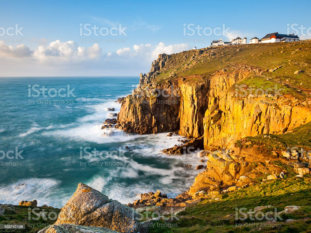 Cliffs at Lands End Cornwall stock photo