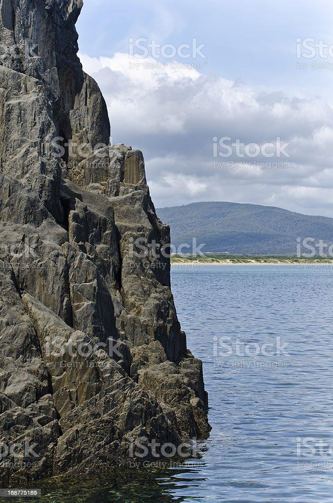 Cliffs at West Head, Narawntapu, Tasmania, Australia stock photo