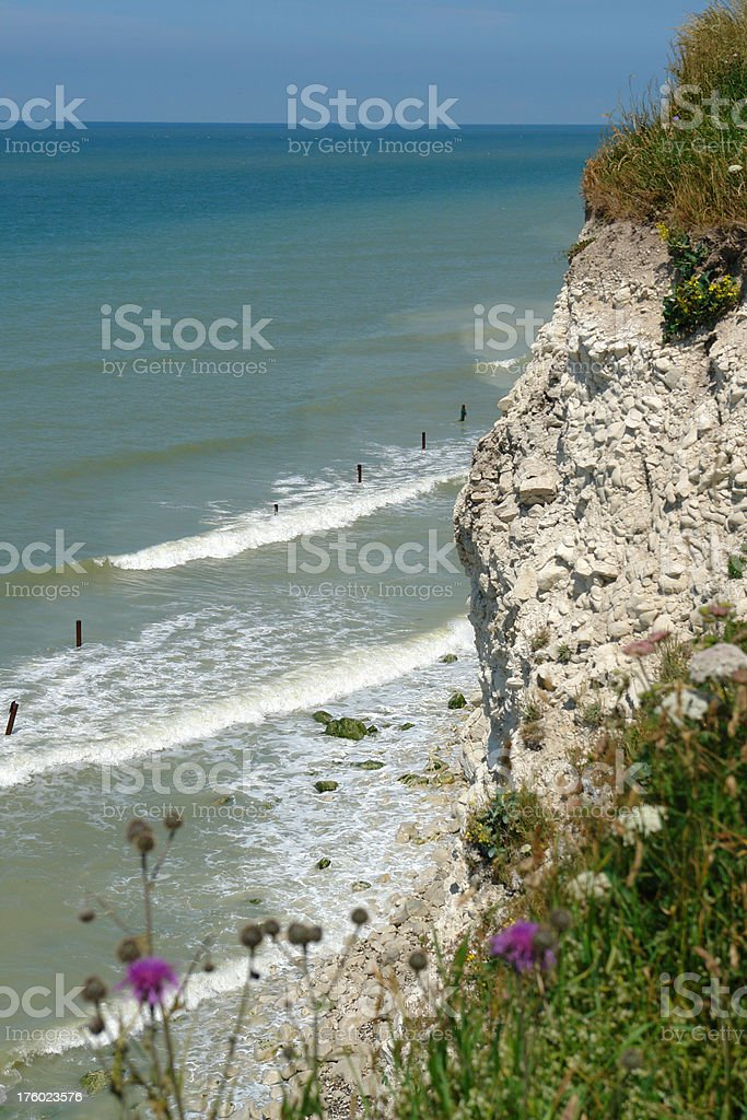 Cliffs between Boulogne and Calais in Northern France stock photo