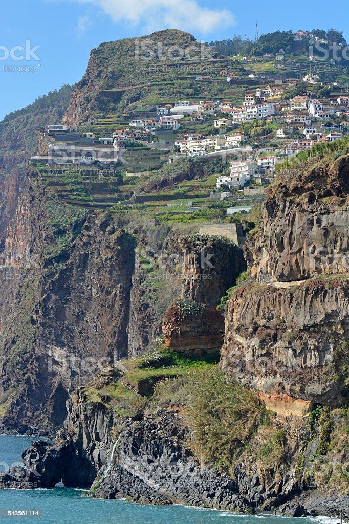 Cliffs by Camara de Lobos, Madeira, Portugal stock photo