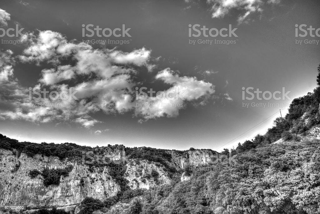Cliffs in Vallon Pont D'arc stock photo