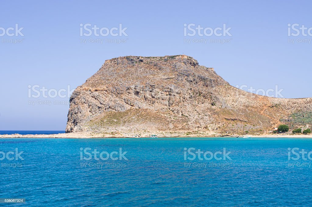 Cliffs near famous Balos beach, Crete, Greece stock photo