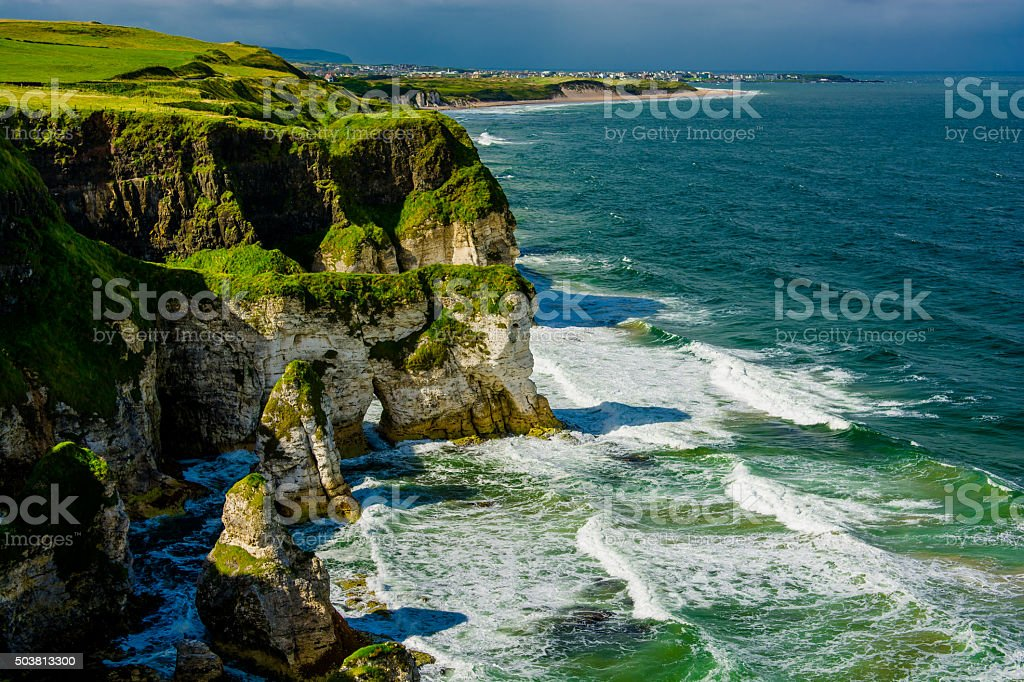 Cliffs near Portrush in Northern Ireland stock photo