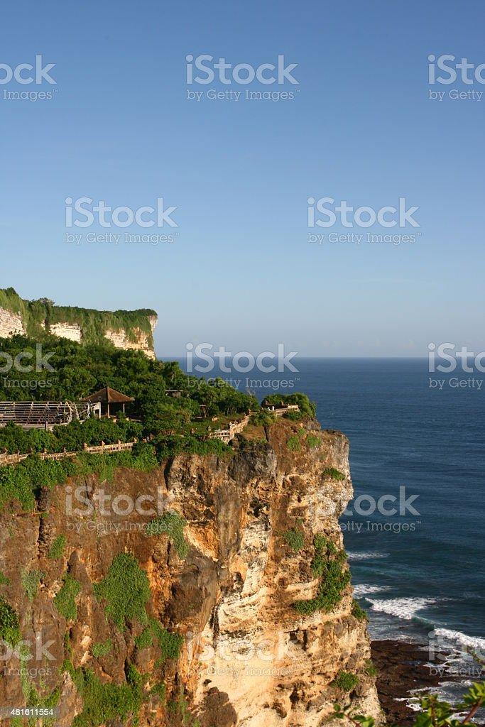 Cliffs near Uluwatu Temple on Bali, Indonesia stock photo