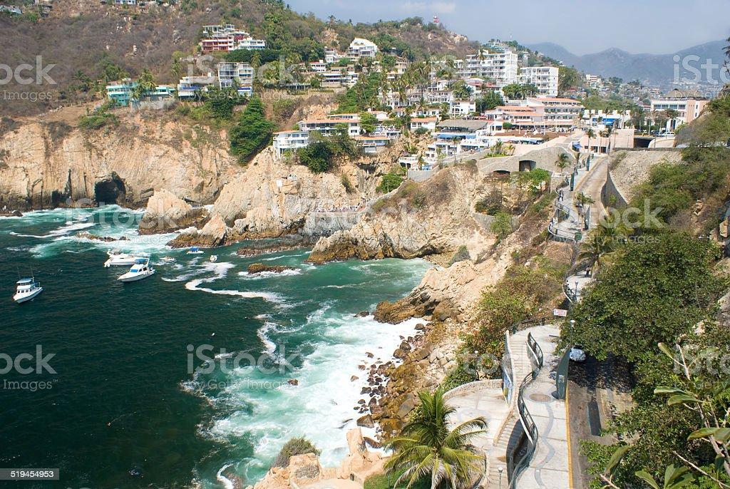 Cliffs of Acapulco, Mexico stock photo