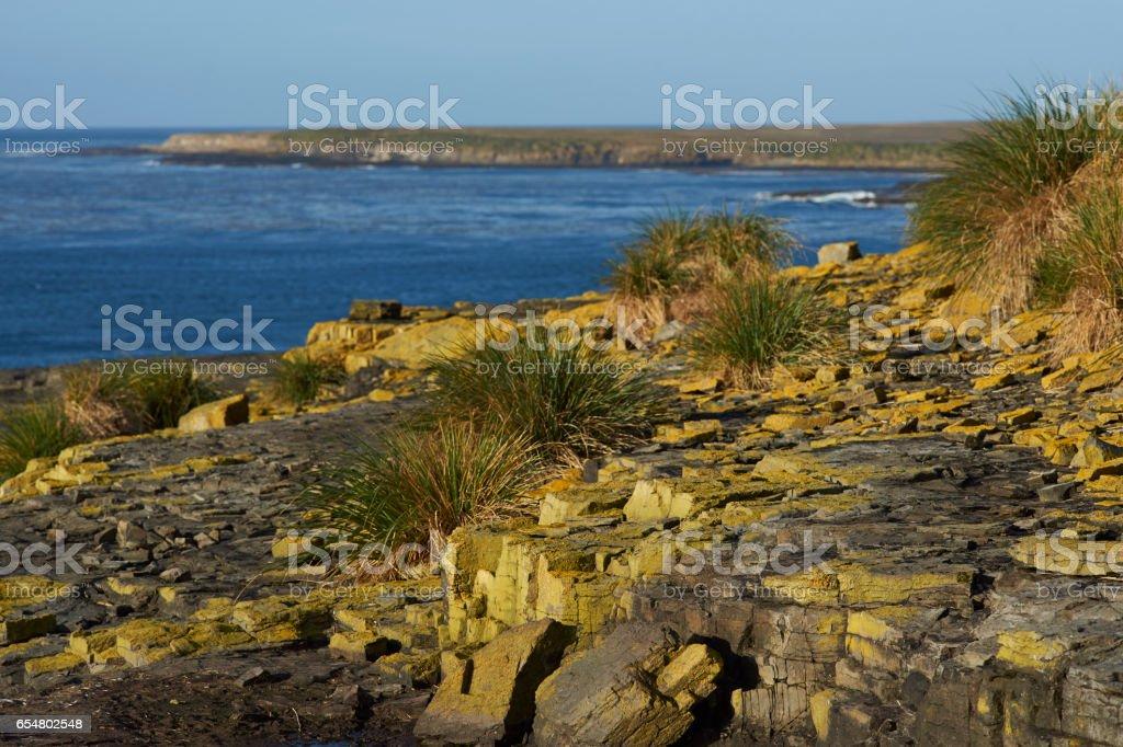 Cliffs of Bleaker Island stock photo