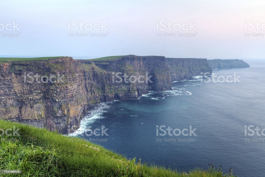 Cliffs of Moher at dusk stock photo