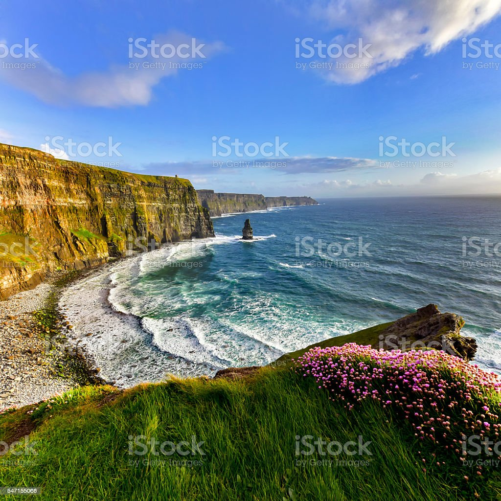 Cliffs of Moher at sunset, Co. Clare stock photo