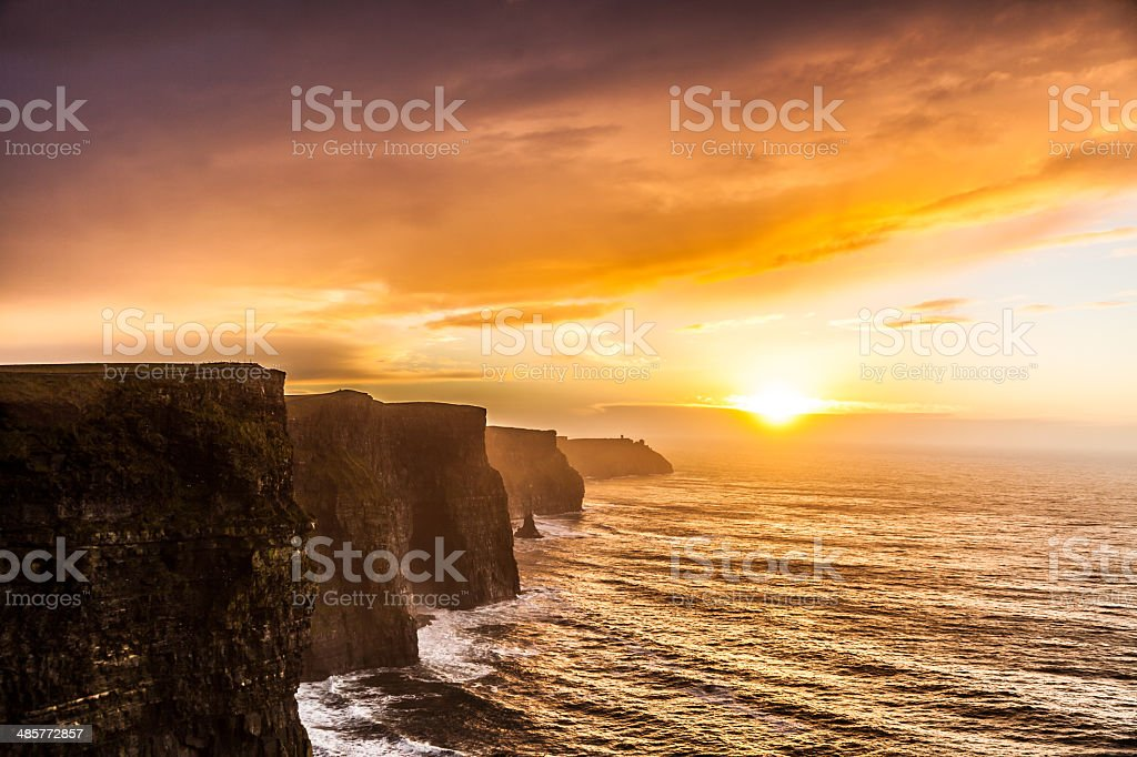 Cliffs of Moher at sunset in Co. Clare, Ireland Europe stock photo