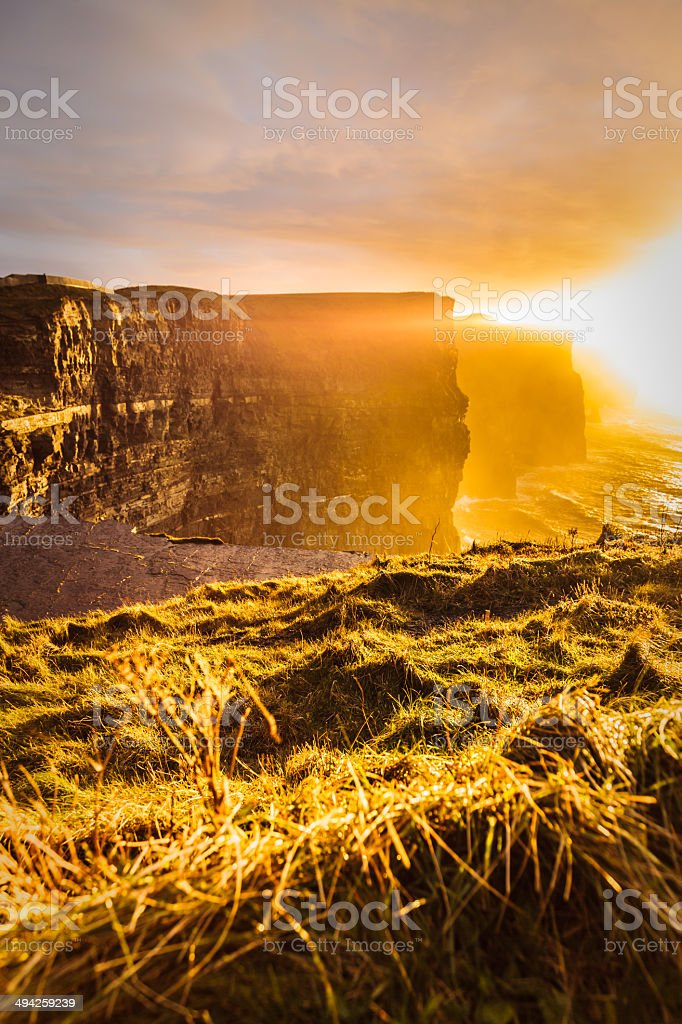 Cliffs of Moher at sunset in Co. Clare, Ireland Europe royalty-free stock photo