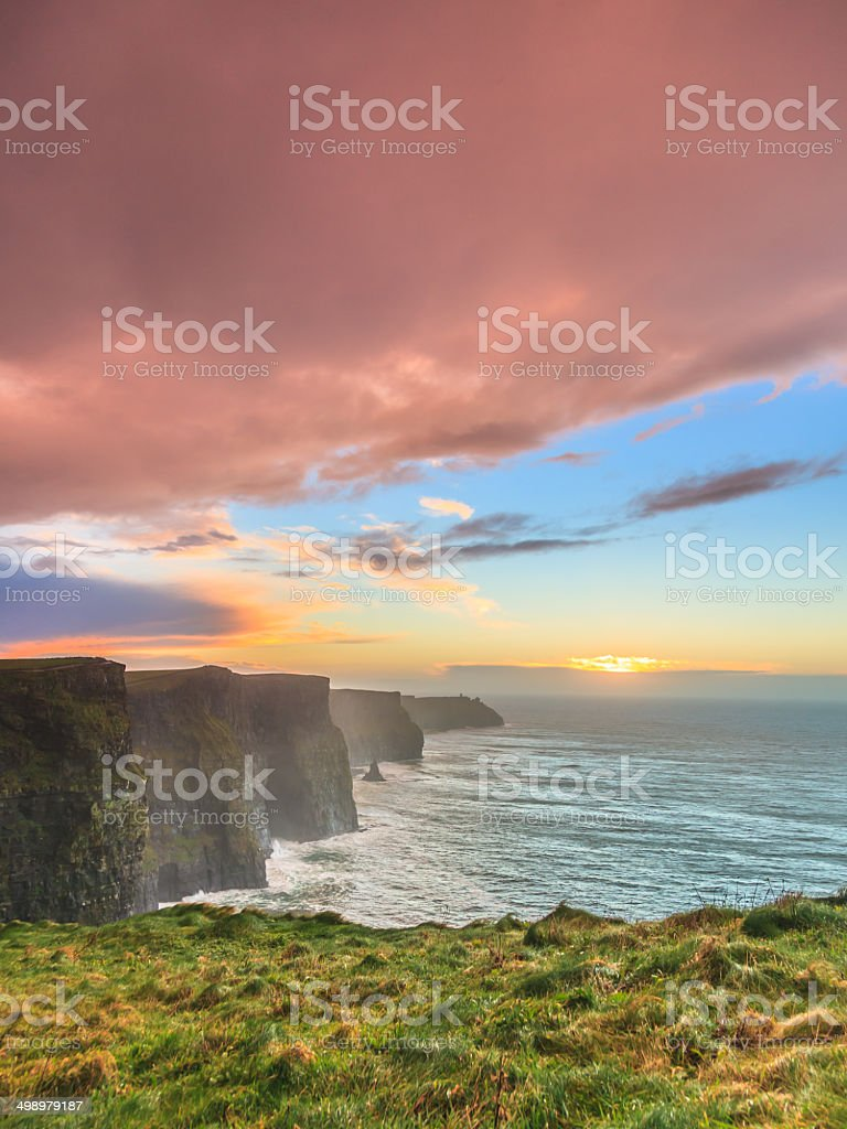 Cliffs of Moher at sunset in Co. Clare Ireland royalty-free stock photo
