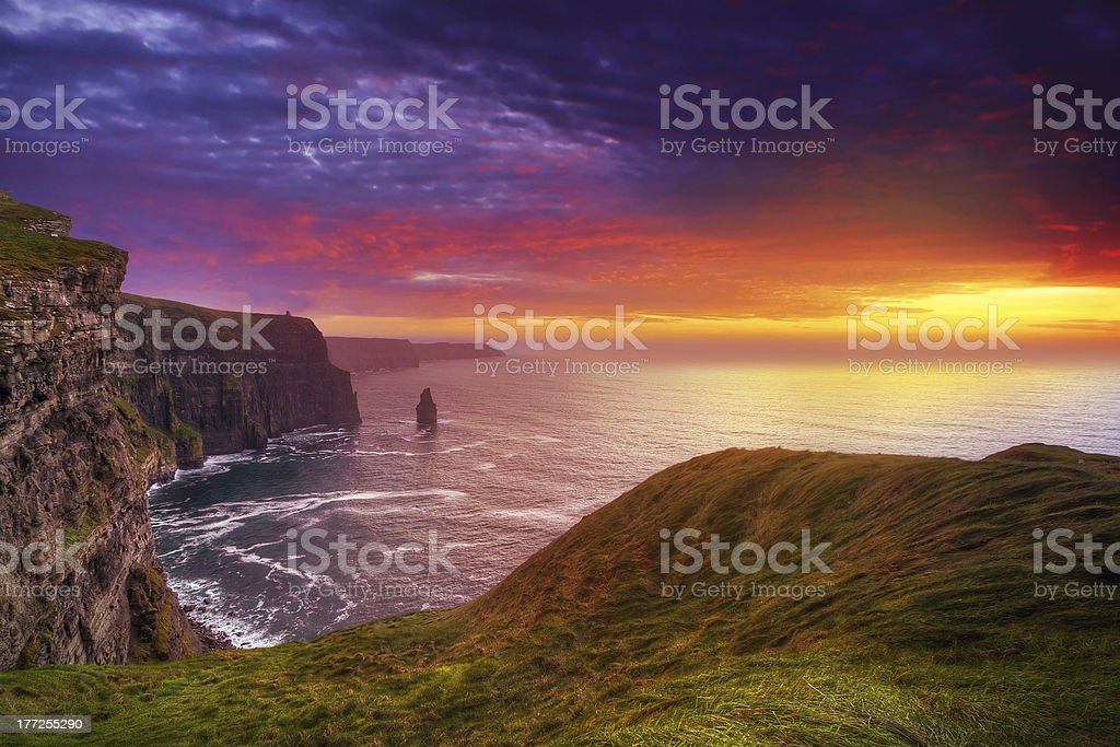 Cliffs of Moher at sunset stock photo