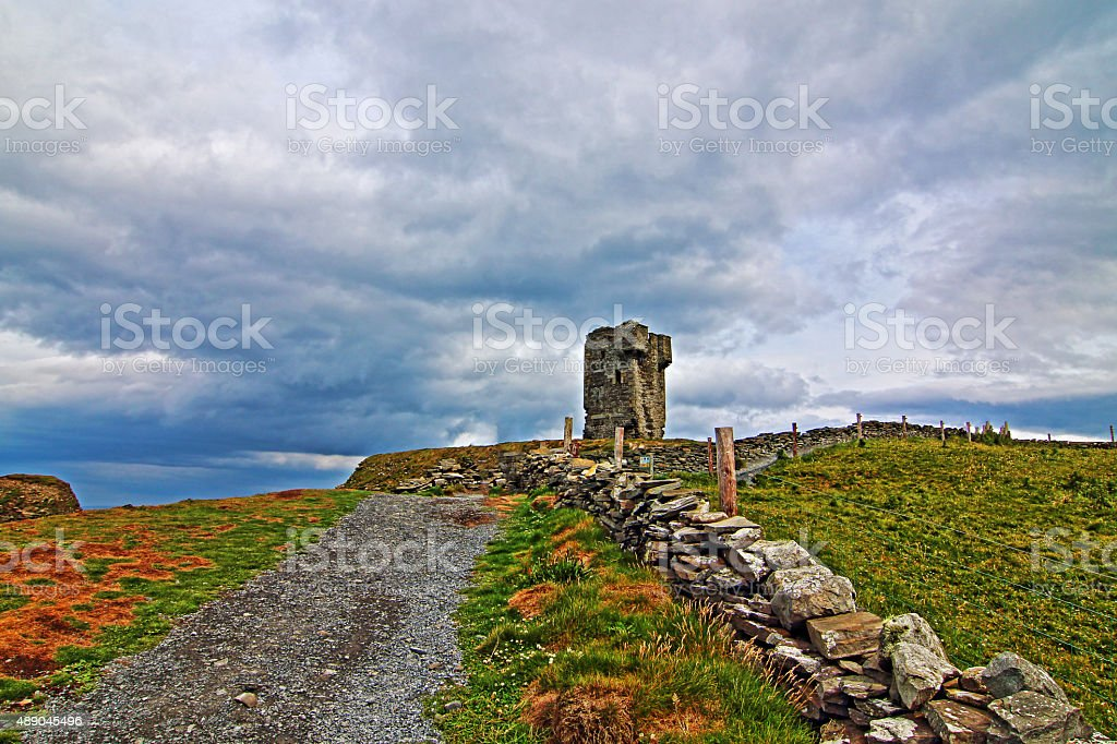 Cliffs of Moher National Park walking path to Moher Tower stock photo