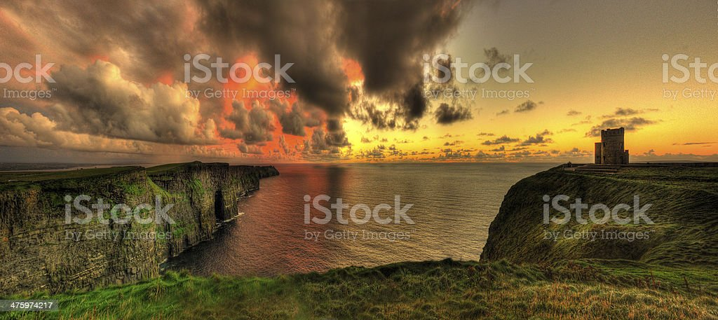 Cliffs of Moher & O'Briens Tower, Co Clare. Ireland stock photo
