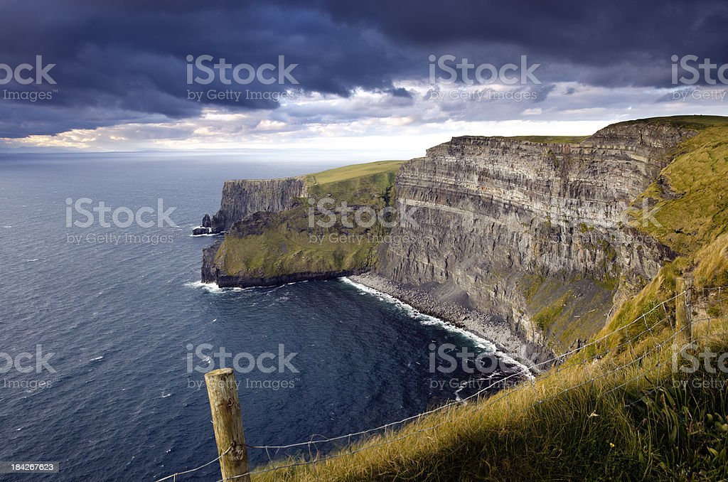 Cliffs of Moher on an overcast weather royalty-free stock photo