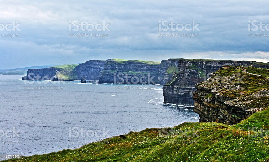 Cliffs of Moher seen from the Moher Tower in Ireland stock photo