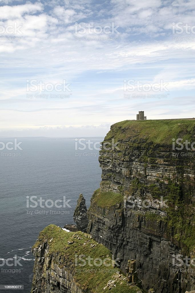 Cliffs of Moher with Brien Tower royalty-free stock photo