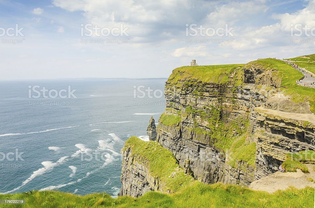 Cliffs of Moher with O'Brien's Tower royalty-free stock photo