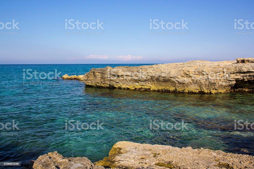 Cliffs of Salento. San Foca coast stock photo