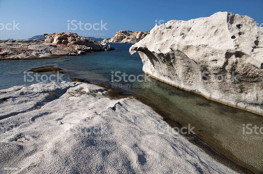 Cliffs of white granite stock photo