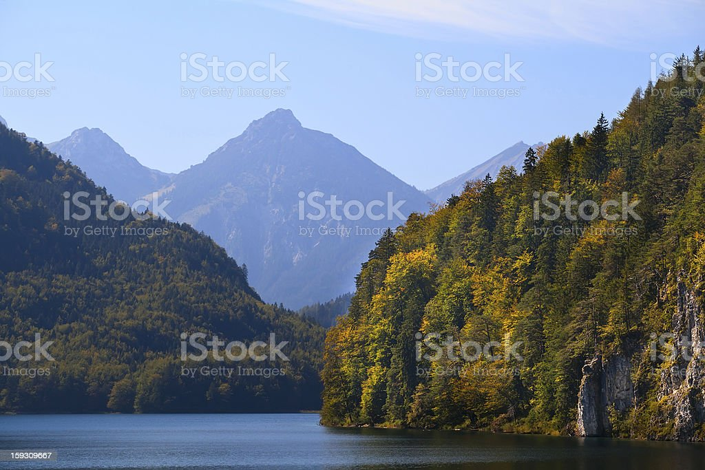 cliffs on Alpsee in Bavaria royalty-free stock photo