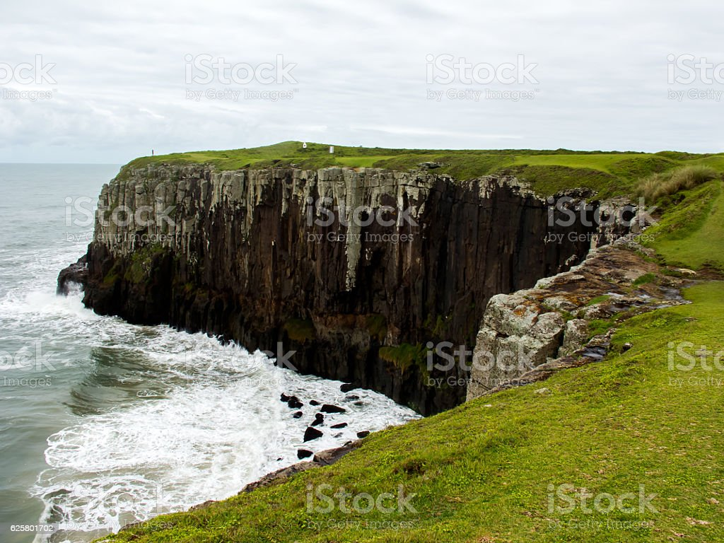 Cliffs on the beach in Southern Brazil stock photo