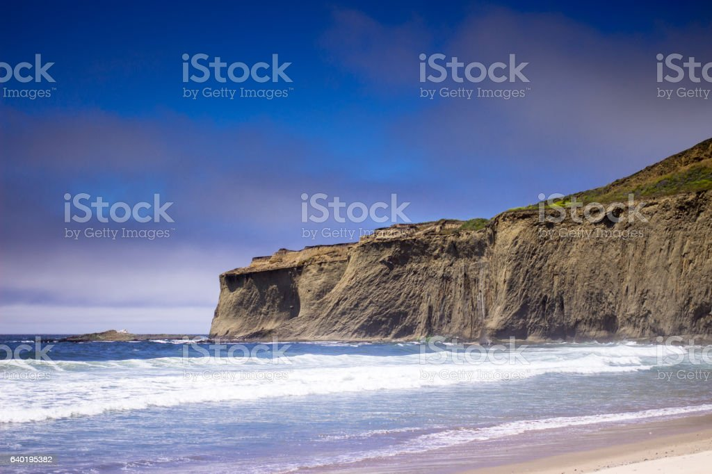 Cliffs Over Tunitas Creek Beach, California stock photo