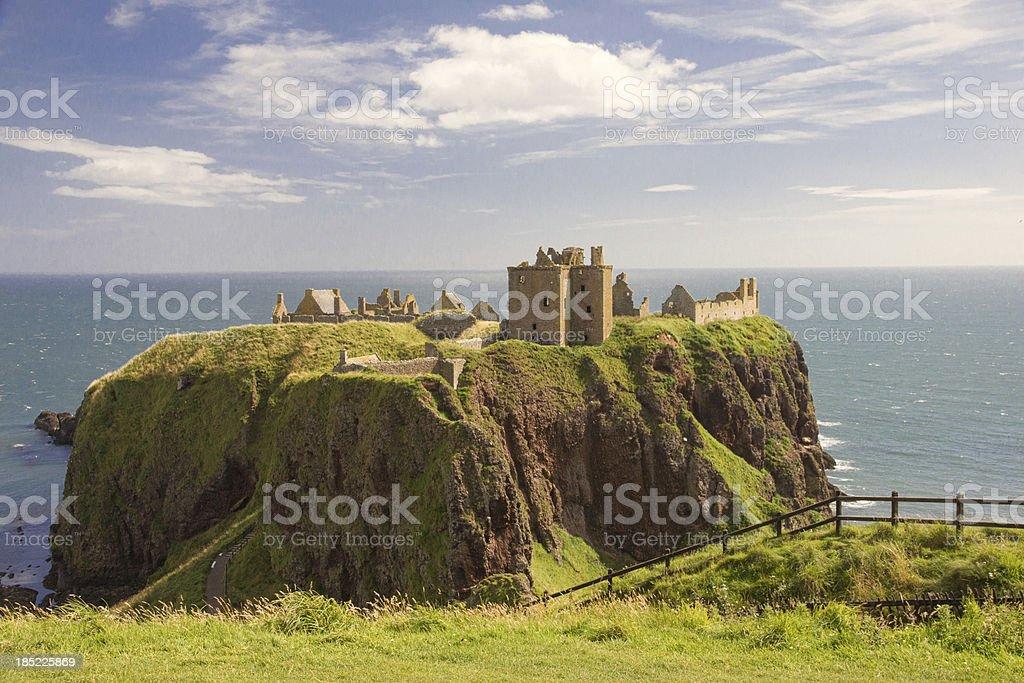 Cliffs Surrounding Dunnottar Castle stock photo