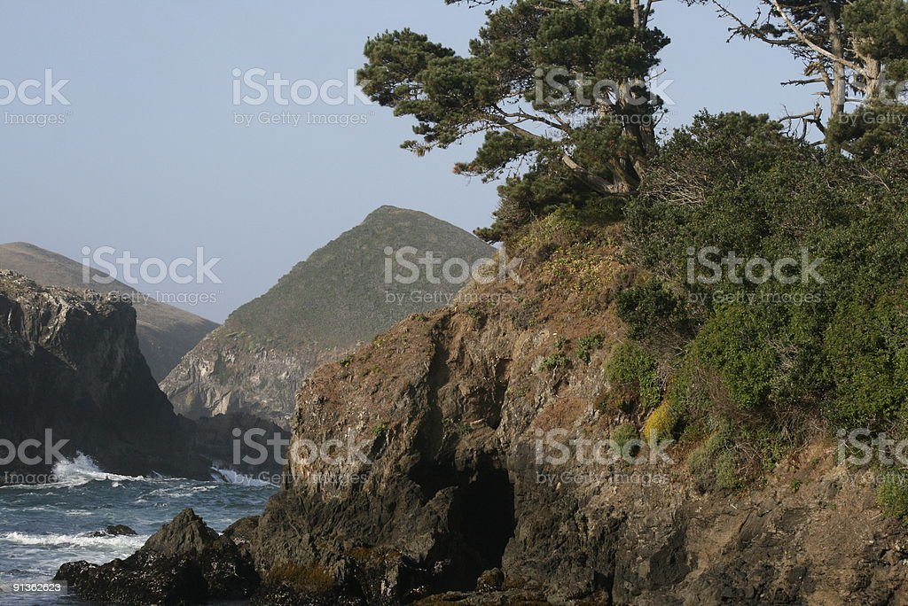 Cliffs, Trees and Water royalty-free stock photo