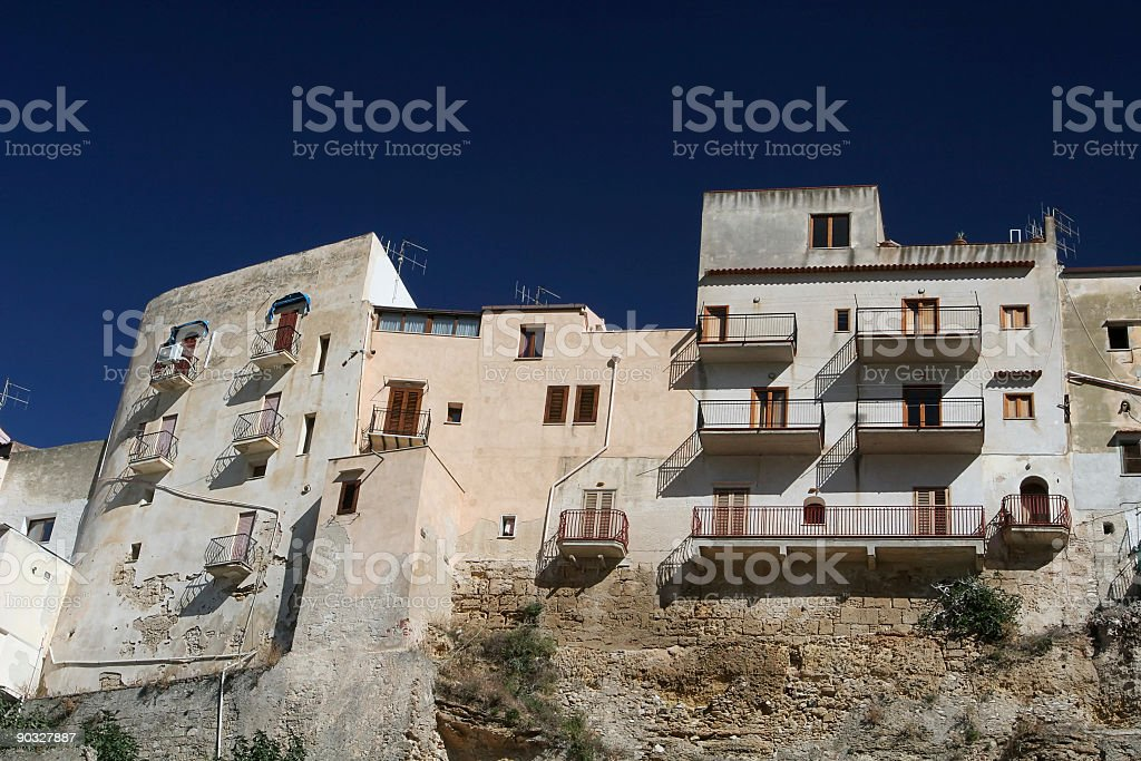 Clifftop Houses in Sicily stock photo